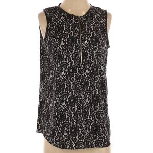 Vince Camuto Floral Leather Sleeveless Blouse